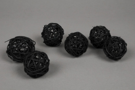 ob38fm Pack of 12 wicker balls black D5cm