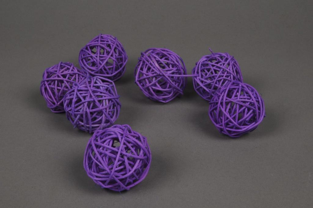 ob61fm Pack of 12 wicker balls purple D5cm
