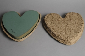 A221QV Pack of 2 floral foam heart 33x34cm H5.5cm