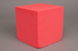 A422QV Paquet de 2 cubes de mousse florale rouge 15 x 15 x 15cm