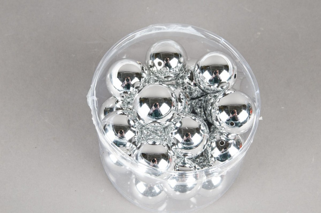 Pack of 24 metal beads silver D30mm