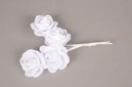 A837GM Pack of 4 white jute roses H20cm