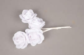A837GM Pack of 4 white jute roses H20cm