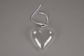 A031Q5 Pack of 6 glass hearts hanging D10cm