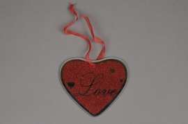 A033Q5Pack of 6 mirror glass hearts hanging D12cm