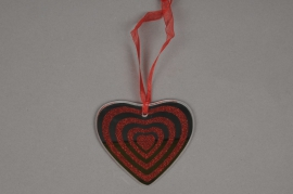 A032Q5 Pack of 6 mirror glass hearts with red glitter hanging D9cm