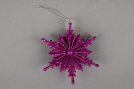 Pack of 6 snowflakes fuchsia D12cm