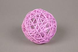 ob60fm Pack of 6 wicker balls pink D10cm