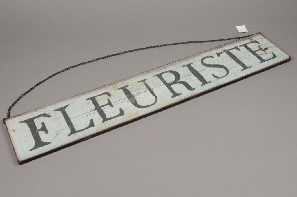 A013N9 Panneau bois FLEURISTE L80cm H15cm