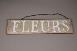 A001N9 Panneau bois FLEURS 50x12cm