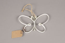 A011AK Papillon en métal blanc H11cm