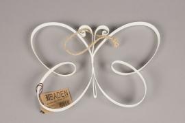 A013AK Papillon en métal blanc H20cm