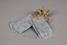 A057U7 Paquet de 10 étiquettes en zinc naturel 8cm x 5cm