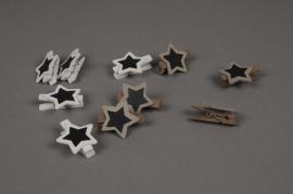 A070U7 Paquet de 10 étiquettes étoiles en bois D3cm