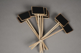 A125MO Bag of 10 slate tags on stick 7x5cm H26cm