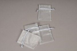 A451UN Paquet de 10 sacs en organza gris 9cm x 12cm