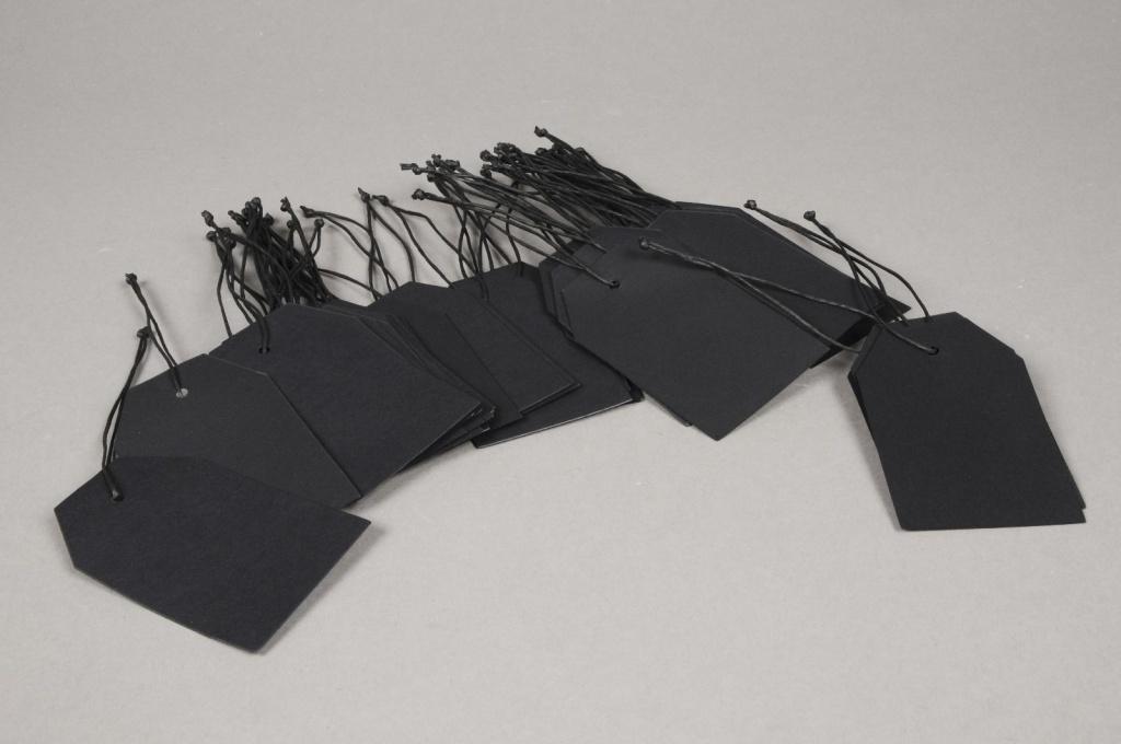 A001TG Paquet de 100 étiquettes kraft noir 9cm x 5.5cm