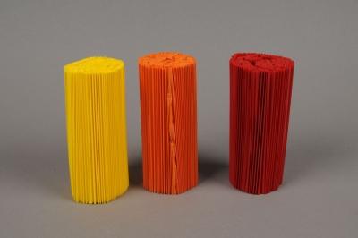 A014Z5 Paquet de 100 manchettes rouge, orange, jaune assorties H12cm