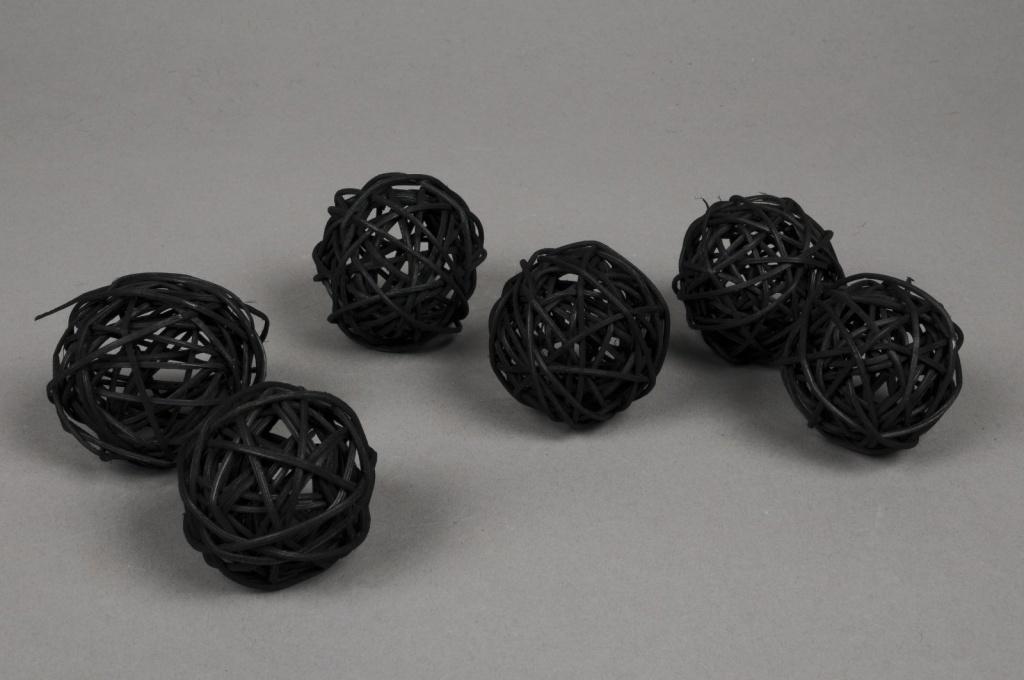 ob38fm Paquet de 12 boules en osier noir D5cm