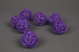 ob61fm Paquet de 12 boules en osier violet D5cm