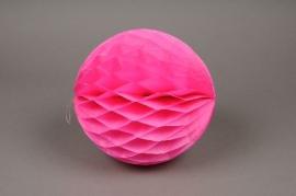 A828GM de 2 boules papier à suspendre fuchsia D20cm