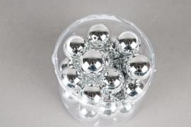 Paquet de 24 perles en métal argenté D30mm