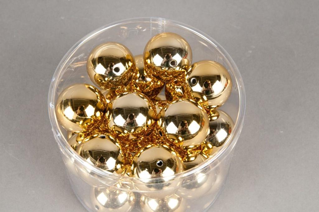Paquet de 24 perles en métal or D30mm