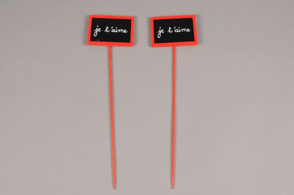 """SV02D0 Paquet de 24 pics """"Je t'aime"""" H28cm"""