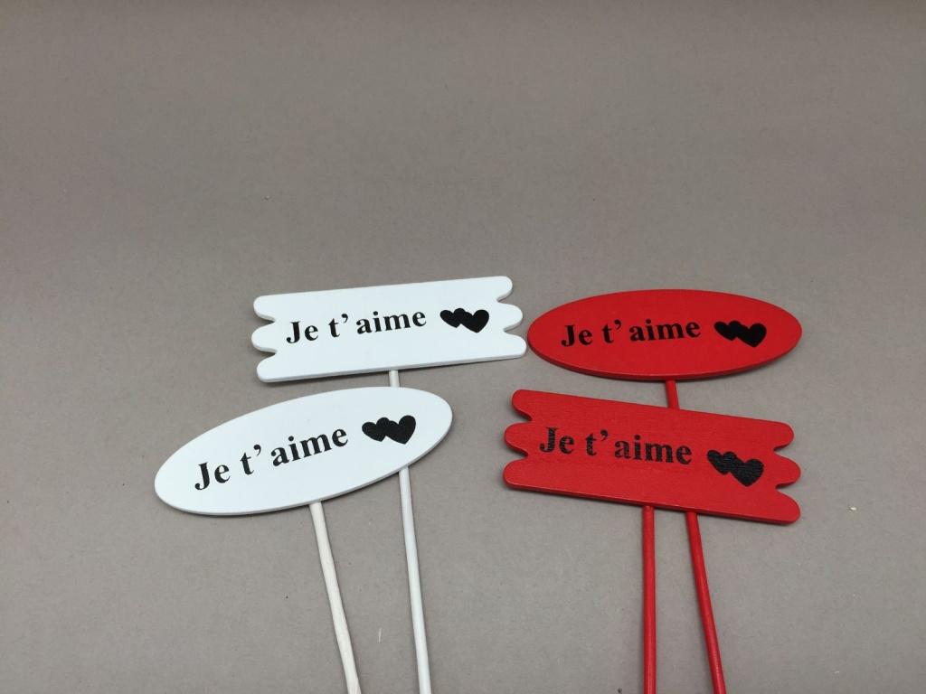 """SV03D0 Paquet de 24 pics en bois rouge blanc """"Je t'aime"""" 3x8.5cm H28cm"""