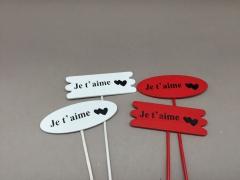 SV03D0 Paquet de 24 pics en bois rouge blanc