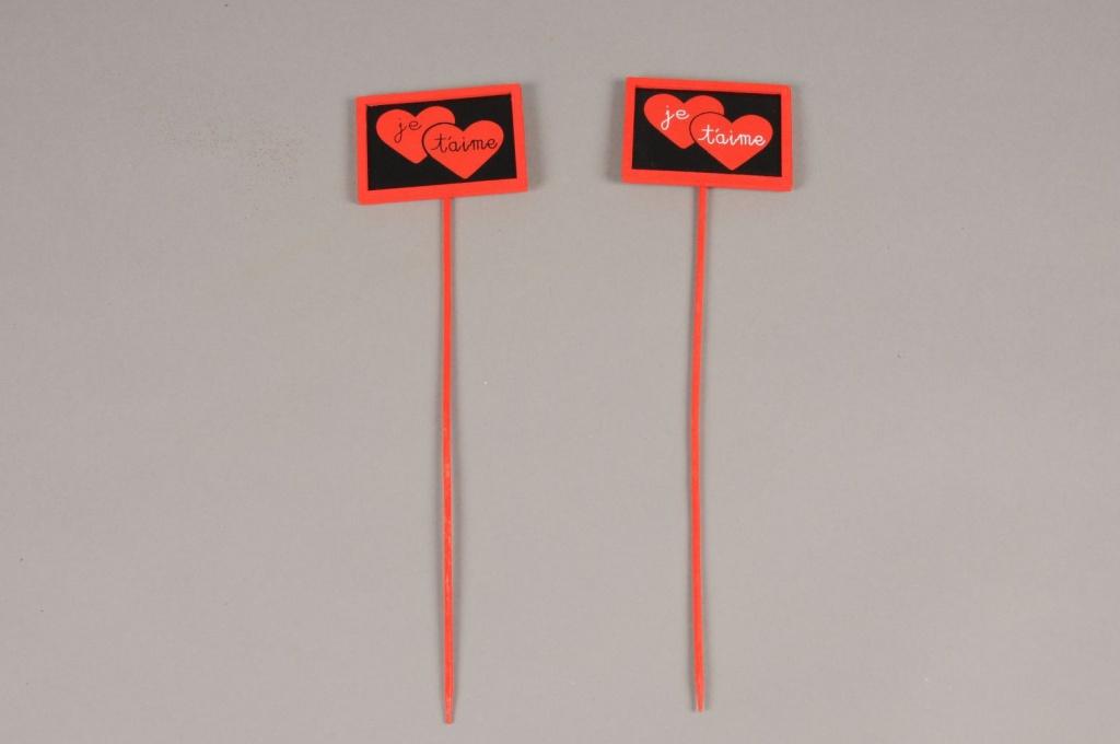 """SV04D0 Paquet de 24 pics rouge """"Je t'aime"""" H28cm"""