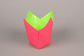A240QX Paquet de 25 cache-pots en papier étanche fuchsia 7.5cm x 7.5cm H16cm
