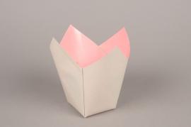 A238QX Paquet de 25 cache-pots en papier étanche gris 7.5cm x 7.5cm H16cm