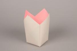 A247QX Paquet de 25 cache-pots en papier étanche gris 8.5cm x 8.5cm H17cm