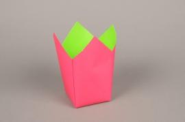 A249QX Paquet de 25 cache-pots en papier étanche rose 8.5cm x 8.5cm H17cm