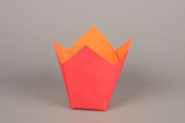 A239QX Paquet de 25 cache-pots en papier étanche rouge 7.5cm x 7.5cm H16cm