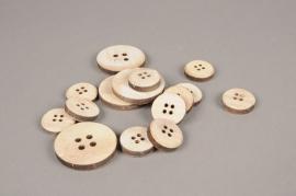 A549UN Paquet de 30 boutons en bois naturel