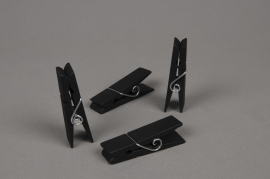 A942QJ Paquet de 4 pinces en bois noir 7cm
