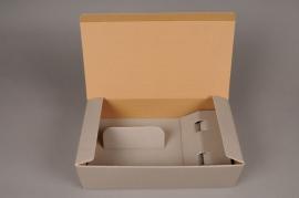 A006M4 Paquet de 5 coffrets carton gris 34x 18cm H10cm
