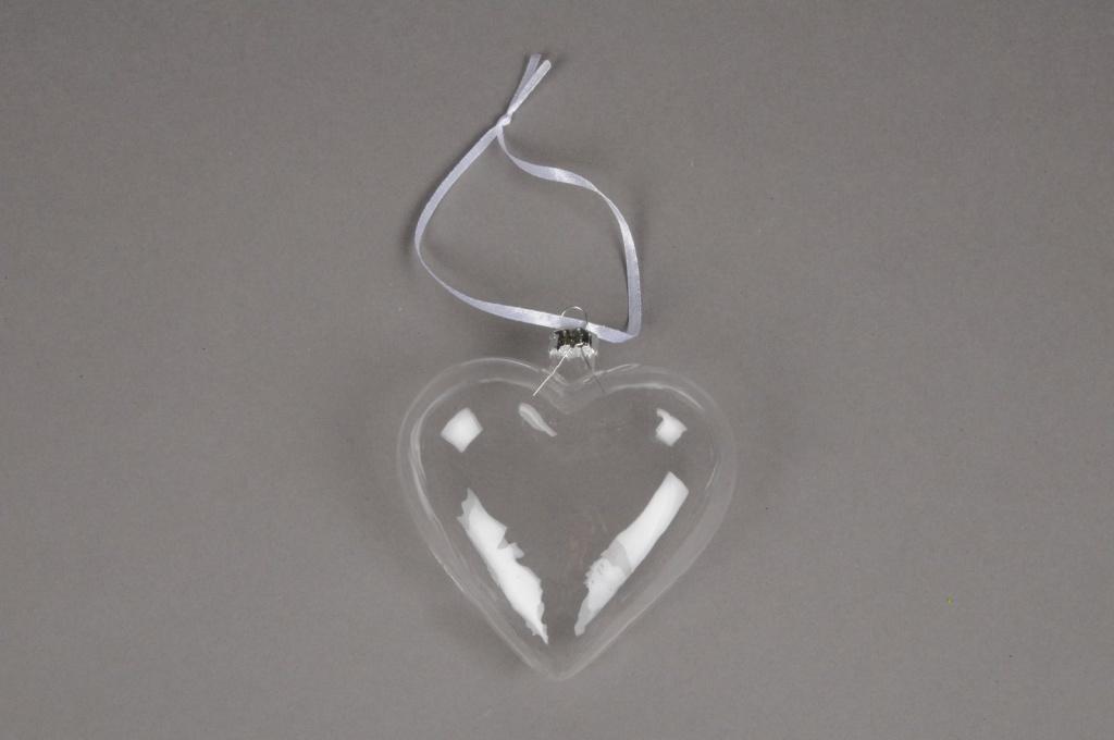 A031Q5 Paquet de 6 coeurs en verre D10cm