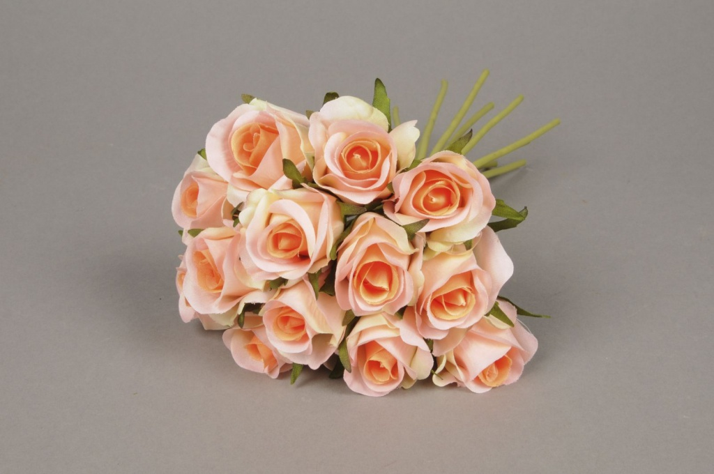x537jp Peach bunch of 13 artificials roses H26cm