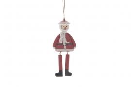 X011U7 Père Noël en bois rouge H14cm
