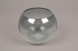 A058ZG Photophore boule en verre gris D14cm H11cm