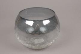 A057ZG Photophore boule en verre gris D18.5cm H13.5cm