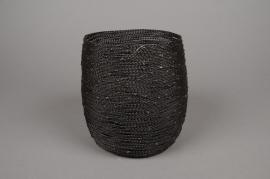 A000C2 Photophore en métal marron D10.5cm H15cm