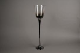 A011B0 Photophore en verre argent D14cm H60cm