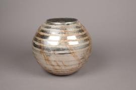 A006I5 Photophore en verre argent or D19cm H17cm