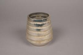 A003I5 Photophore en verre argent or D8cm H11cm
