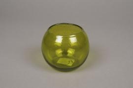 B121LE Photophore en verre boule vert D10cm H8cm