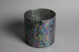 Photophore en verre clouté or D6cm H8cm